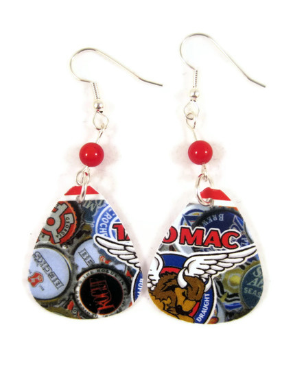 Earrings, Recycled Jewelry Made With Guitar Picks Punched from A Taco Mac Rewards Cards