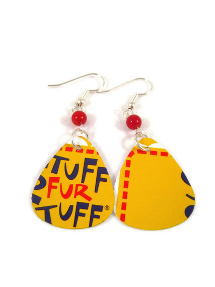 Earrings, Recycled Jewelry Made With A Guitar Pick Punched Out of A Build-A-Bear Rewards Card, Yellow and Red